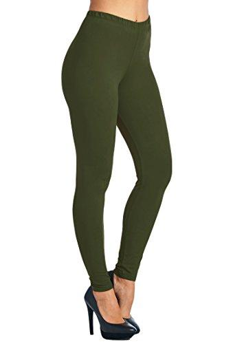 MomMe And More Leggings for Women Solid Olive Green, OS/PLUS
