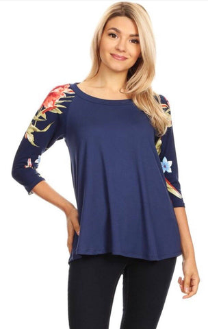 Women's Blue Top 3/4 Sleeve Floral Shirt: S/M/L Tunics MomMe and More