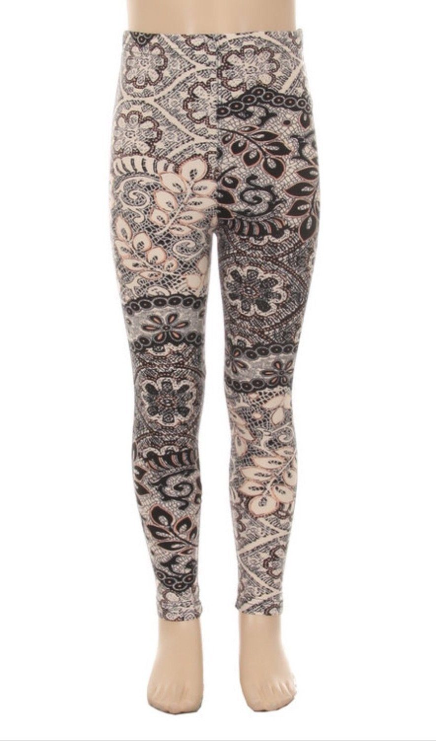 Girl's Lace Vine Printed Leggings Cream: S and L - MomMe and More Matching Mommy and Me Clothing