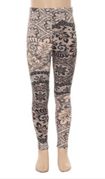 Leggings for Girls ELEGANT LACE FLORAL VINE, S, L