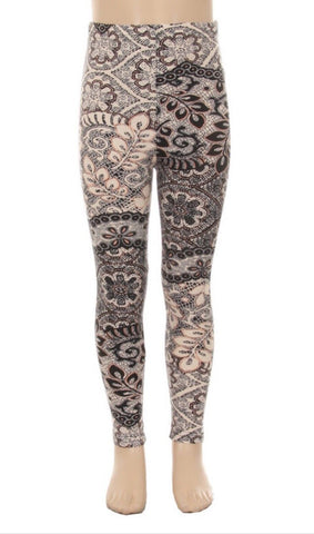 Girl's Lace Vine Printed Leggings Cream: S and L Leggings MomMe and More
