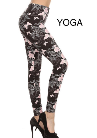 Womens Pink Butterfly Leggings: Yoga Waist Leggings MomMe and More