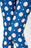 Women's Capri Baseball Printed Leggings Blue: OS and Plus Leggings MomMe and More