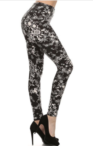 Womens Winter Snowflake Leggings: Black/White Leggings MomMe and More