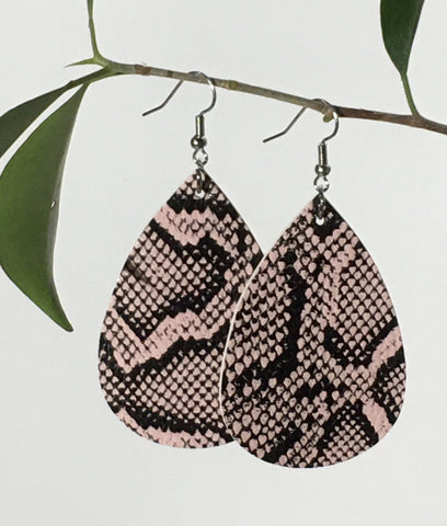 Leather Teardrop Earrings: Snakeskin Earrings MomMe and More