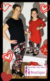 Girls Valentines Day Heart Leggings: Red/Black Leggings MomMe and More
