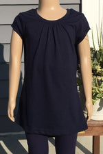 Girl's Navy Blue Top Short Sleeve Shirt: S/M/L - MomMe and More