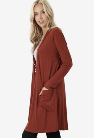 Women's Rust-Orange Pocket Cardigan: Plus Cardigan MomMe and More