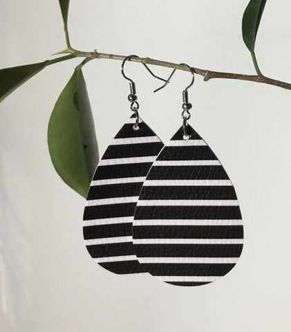 Leather Black and White Teardrop Earrings Earrings MomMe and More