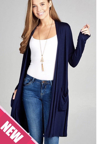 Womens Navy Blue Pocket Cardigan Tops MomMe and More