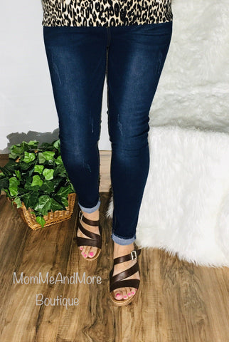 Women's Solid Dark Wash Jean Jeggings: Plus Jeans MomMe and More