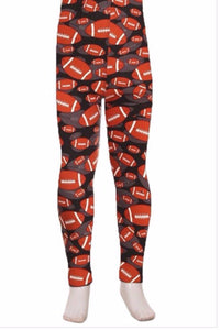 Girl's Football Printed Leggings Brown: S and L Leggings MomMe and More