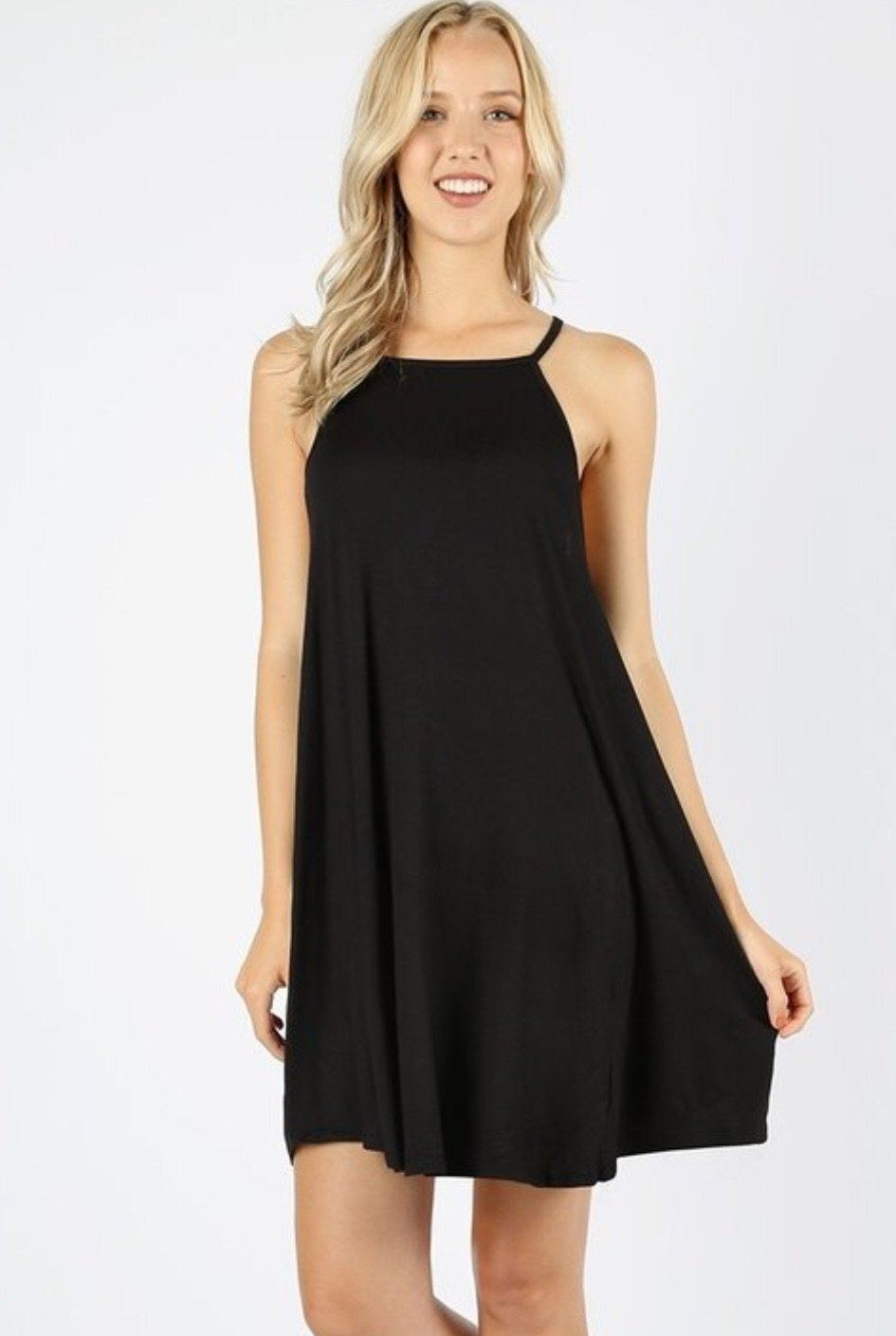 MomMe And More Women's Black High Neck Spaghetti Strap Dress