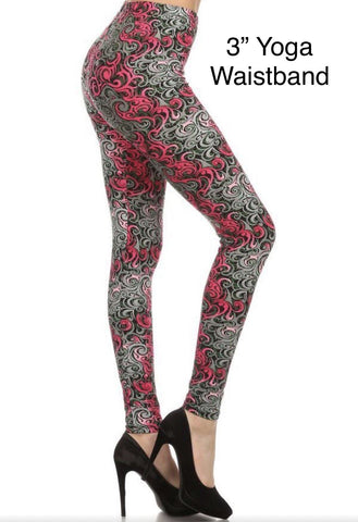 Womens Pink Ribbon Paisley Leggings: Yoga Waist Leggings MomMe and More