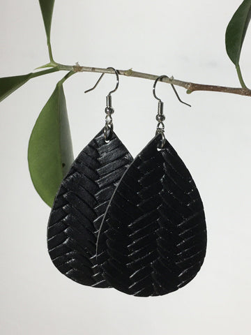Leather Braided Solid Teardrop Earrings Earrings MomMe and More