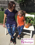 Womens Peacock Printed Leggings: Blue Leggings MomMe and More