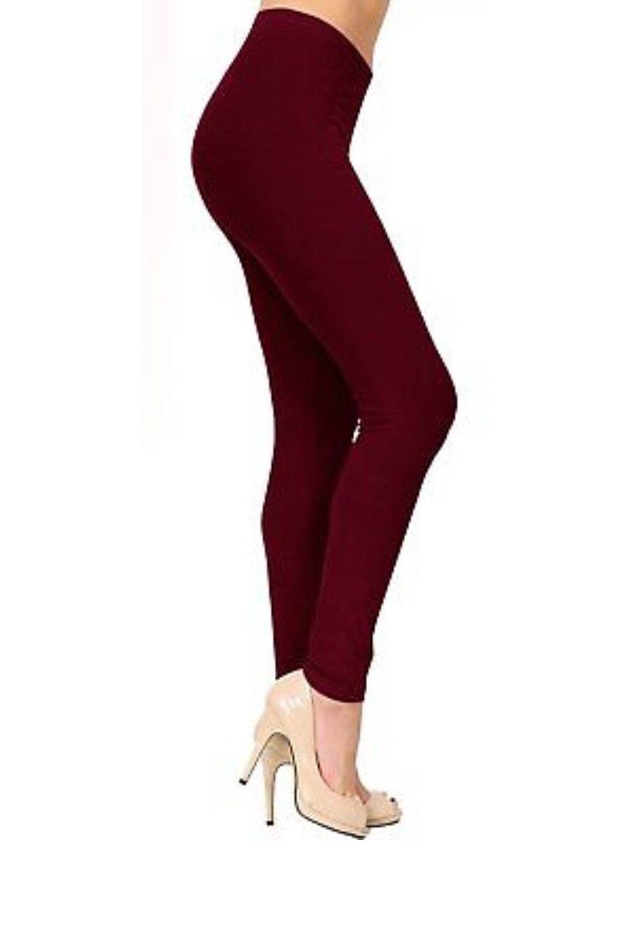 MomMe And More Women's Best Solid Maroon Leggings: OS and Plus