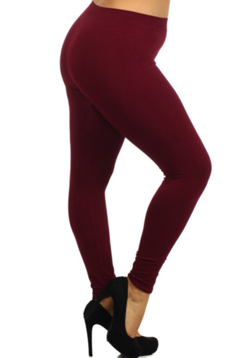 Women's Burgundy Leggings Solid Maroon: OS/PLUS - MomMe and More