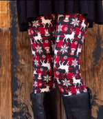 Women's Reindeer Plaid Printed Leggings Red: OS and Plus