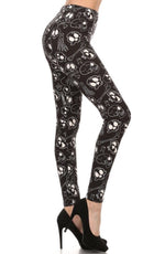 Women's Skull Bones Leggings Black/White: OS/PLUS - MomMe and More