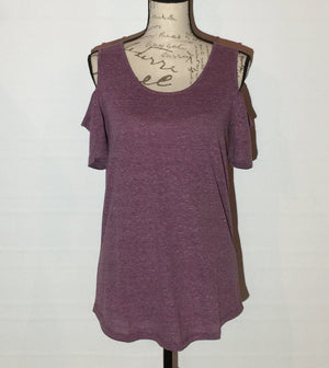 Purple Cold Shoulder Tunic Heathered Plum Top: XS/S/M/L - MomMe and More