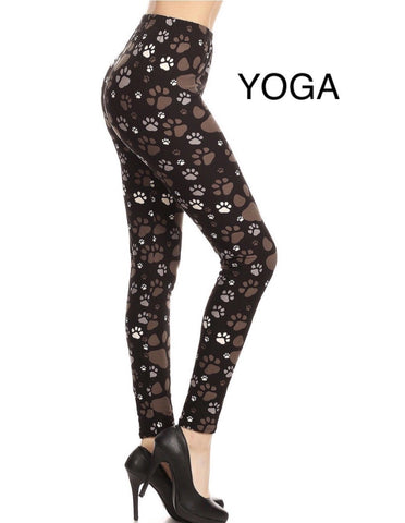 Womens Dog Paw Print Leggings: Yoga Waist Leggings MomMe and More