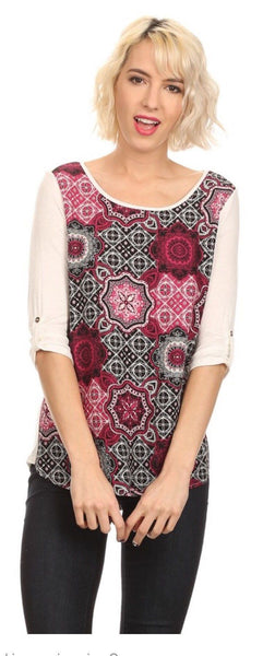 Tunic Top For Women Geometric Print, Pink/Ivory, S/M/L