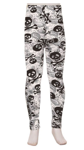 Girl's Skull Paisley Printed Leggings White: S and L Leggings MomMe and More