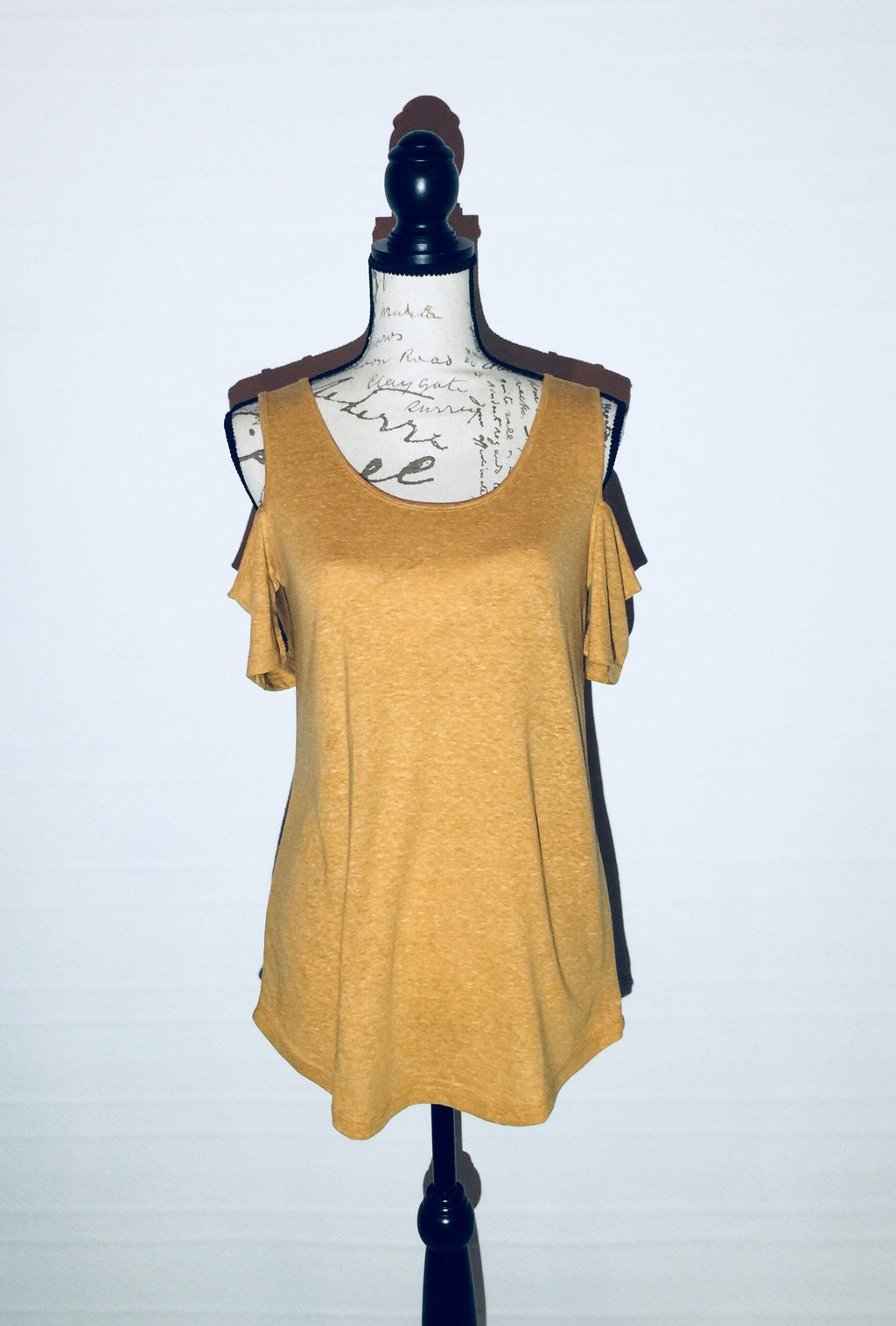Yellow Cold Shoulder Tunic Heathered Mustard Yellow Top: XS/S/M/L - MomMe and More