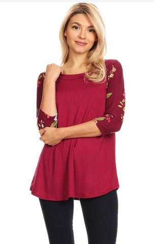 Women's Maroon Raglan Tunic Top Floral Shirt: S/M/L Tunics MomMe and More