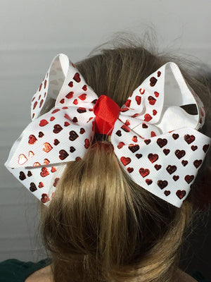 Girl's JoJo Inspired Large Cheer Hair Bow Hearts accessories MomMe and More