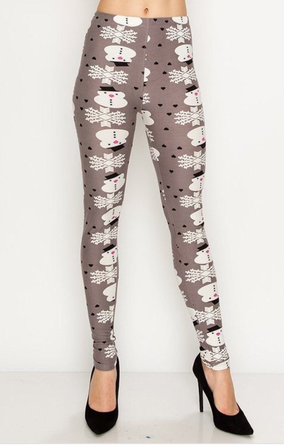 MomMe And More Women's Snowman Printed Leggings Gray: OS and Plus