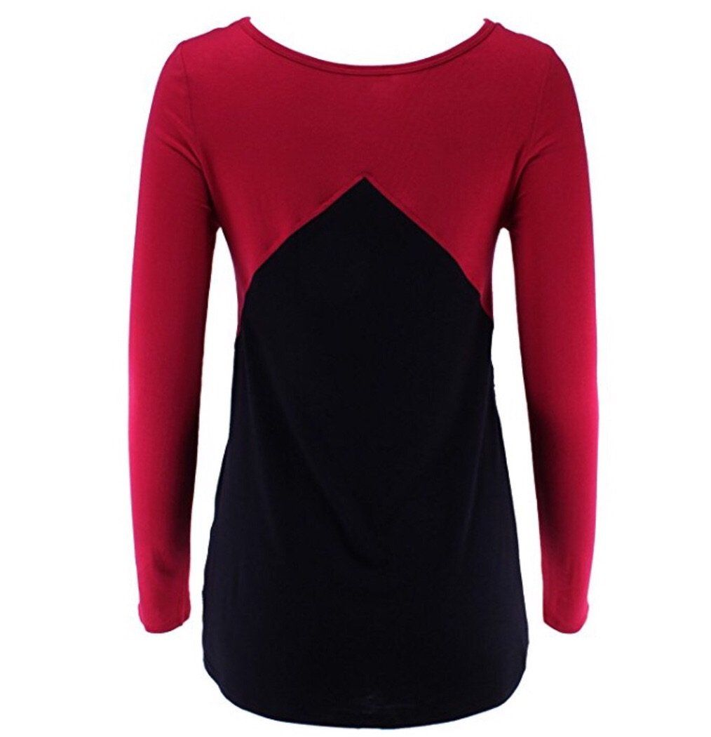 Women's Red Top Long Sleeve Lace Shirt: S/M/L - MomMe and More Matching Mommy and Me Clothing