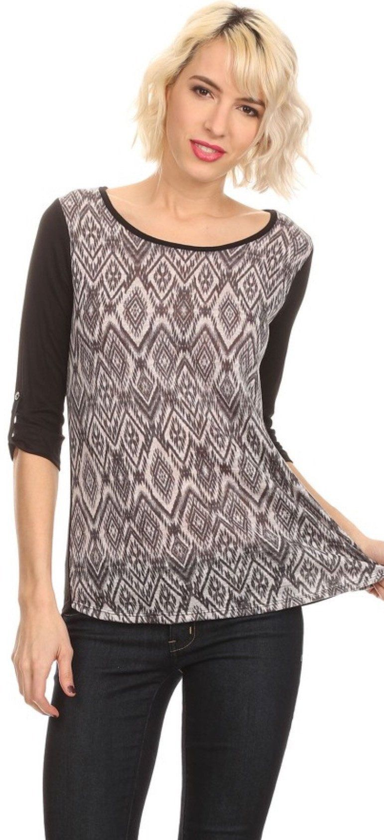 Womens Tunic Top 3/4 Sleeves Diamond Print, Black/Gray,  S/M/L Lularoe Randy