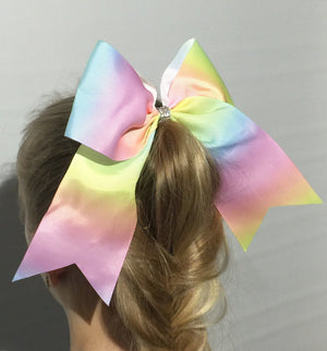 Girl's JoJo Inspired Large Cheer Hair Bow: Rainbow Ombre - MomMe and More Matching Mommy and Me Clothing