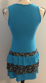 Juniors Paisley Teal Blue Tunic Dress Swim Cover: Small - MomMe and More