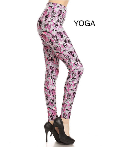 Womens Valentines Day Pink Heart Leggings: Yoga Waist Leggings MomMe and More