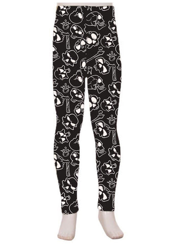 Girl's Skull Bone Printed Leggings Black: S and L Leggings MomMe and More