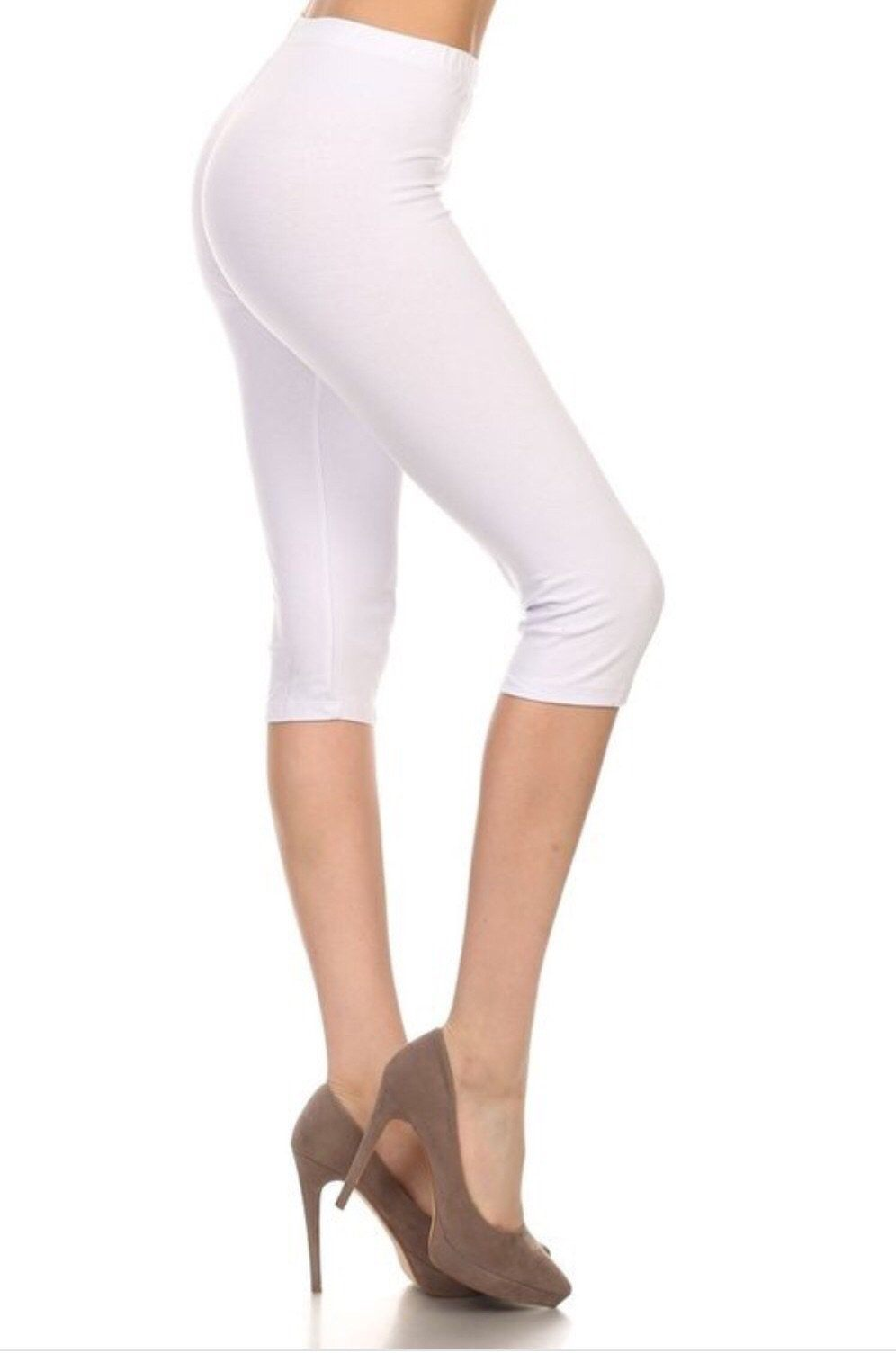 Women's White Capri Leggings Solid White: OS/PLUS - MomMe and More