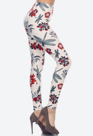 Womens Dragonfly Leggings: White/Red Leggings MomMe and More