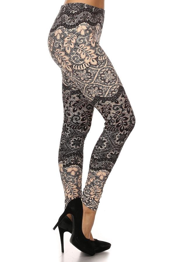 Women's Lace Vine Printed Leggings Blush: OS and Plus - MomMe and More Matching Mommy and Me Clothing