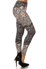 Women's Lace Vine Printed Leggings Blush: OS and Plus Leggings MomMe and More