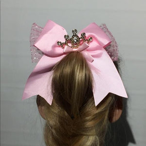 Girl's JoJo Inspired Cheer Big Hair Bow: Princess Tiara - MomMe and More Matching Mommy and Me Clothing