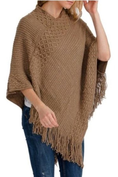 Women's Mocha Brown Sequin Poncho Shimmer Fringed Cape Shawl duster MomMe and More