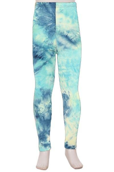 Girl's Tie-Dye Printed Leggings Ocean Blue: S and L Leggings MomMe and More