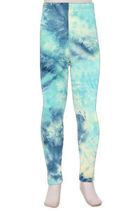 Girl's Tie-Dye Printed Leggings Ocean Blue:  S and L