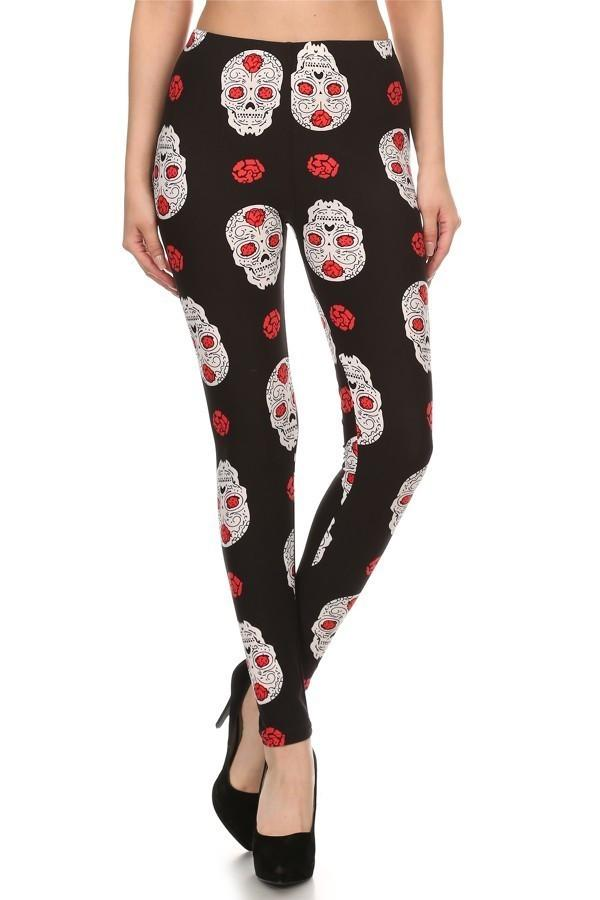 Women's Skull Leggings Sugar Skulls & Roses Black/Red/White: OS/PLUS - MomMe and More