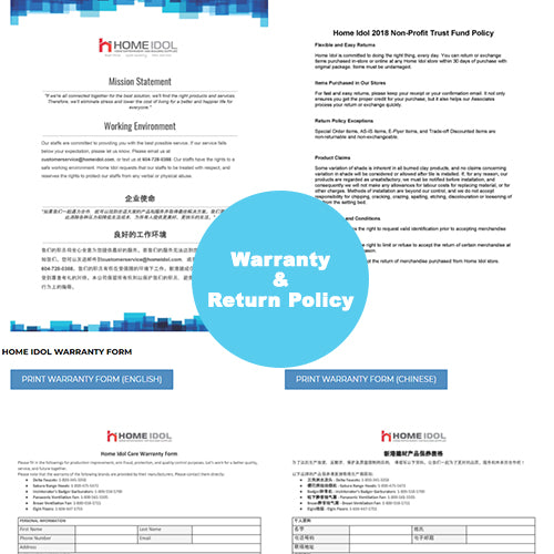Home Idol Warranty and Policy