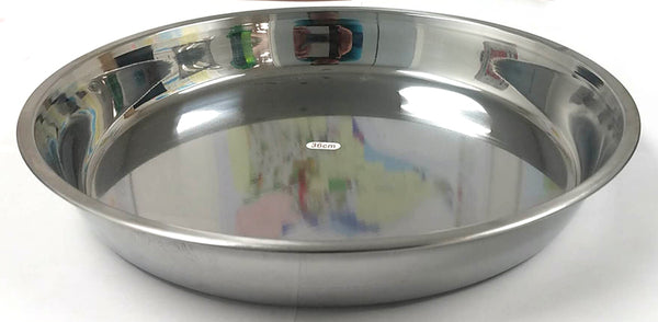 "BIG ROUND CAKE PLATE STAINLESS STEEL GUOSHENG 36CM=14"" $2.75 - Home Idol Vancouver"