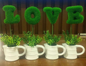 LOVE ALPHABET POTTED FAKE PLANT 4PC/SET $9.5/SET - Home Idol Home Improvement Outlet